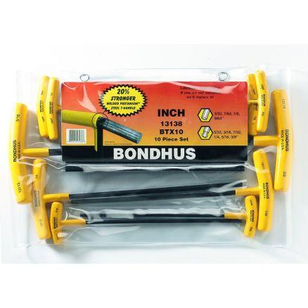 "Bondhus Set of 10 Balldriver and Hex T-handles, sizes 3/32-3/8"" - 13138C"