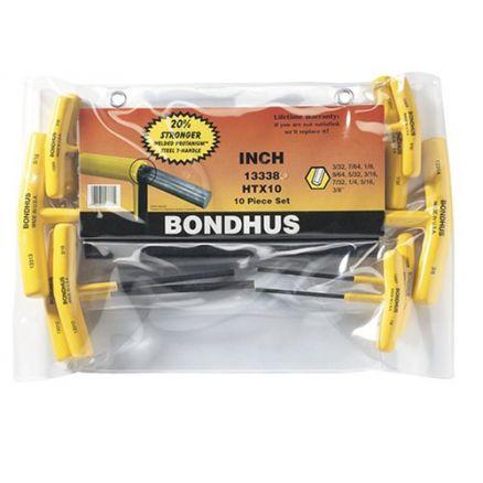 Bondhus Set of 10 Hex T-handles, sizes 3/32-3/8 - 13338A