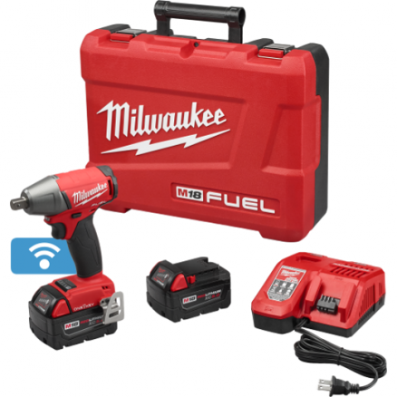 "Milwaukee M18 FUEL™ 1/2"" Compact Impact Wrench with Detent Pin with ONE-KEY™ Kit 2759-22"