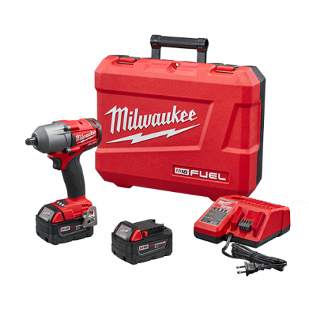 "Milwaukee M18 1/2"" Dr. Mid-Torque Impact Wrench with Detent Pin Kit - 2860-22"