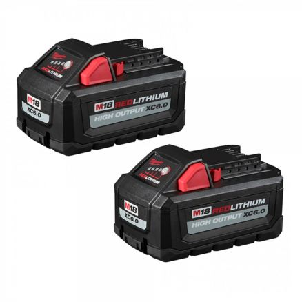 Milwaukee 48-11-1862 M18™ REDLITHIUM™ HIGH OUTPUT™ XC6.0 Battery 2-Pack
