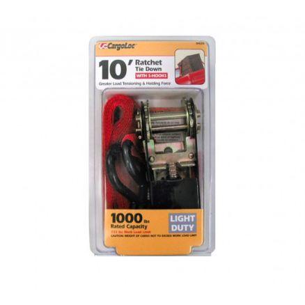 "CargoLoc 1"" x 10' Ratchet Tie Down with S-Hooks - 84029"