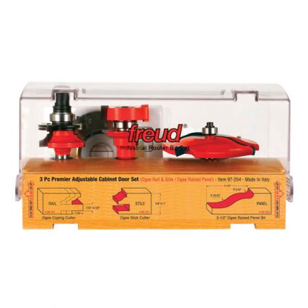 Freud 3-Piece Premier Adjustable Cabinet Bit Set - 97-254