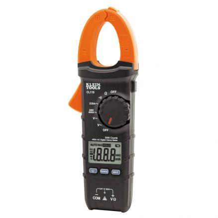 Klein Tools Digital Clamp Meter, AC Auto-Ranging 400 Amp - CL110