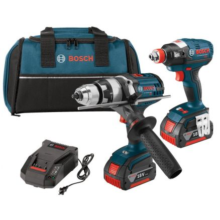 """Bosch 18-volt Lithium-Ion 2-Tool Combo Kit with 1/2"""" Hammer Drill/Driver & Impact Driver - CLPK224-181"""
