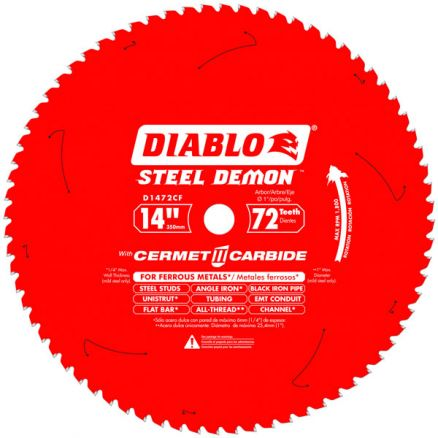 "Freud Diablo 14"" 72-Tooth Steel Demon Metal-Cutting Saw Blade - D1472CF"